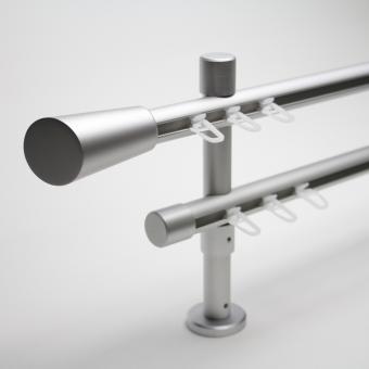 20mm Alu-Matt-Garnitur zweiläufig mit Endstück Quer - Träger 8/14cm - Lauf-Lauf