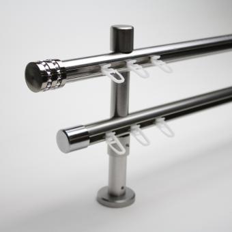 20mm Edelstahl-Optik Zweiläufig Kappe Strass- Träger 8/14cm - Lauf-Lauf