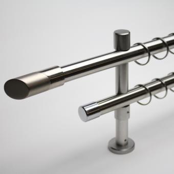 20mm Edelstahl-Optik Zweiläufig BiColor - Träger 8/14cm - Rohr-Rohr