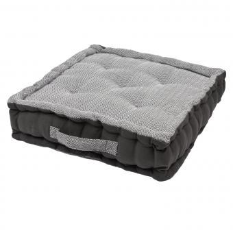 Bodenkissen ZigZag Anthrazit - 45x45x10cm - 100% Baumwolle