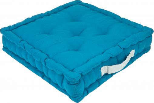 Sitzkissen Uni aus 100% Baumwolle - 45x45x10cm - Farbe Petrol