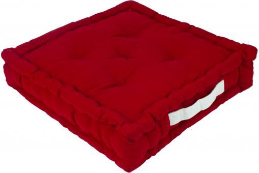Sitzkissen Uni aus 100% Baumwolle - 45x45x10cm - Farbe Rot / Salsa