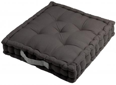 Sitzkissen Uni aus 100% Baumwolle - 45x45x10cm - Farbe Grau