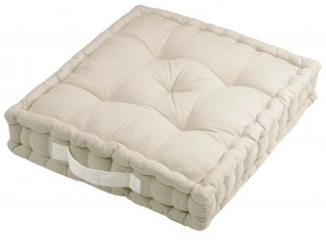 Sitzkissen Uni aus 100% Baumwolle - 45x45x10cm - Farbe Leinen / Beige