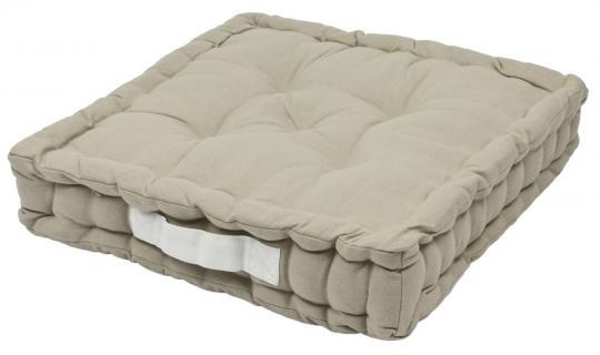Sitzkissen Uni aus 100% Baumwolle - 40x40x6cm - Farbe Leinen / Beige