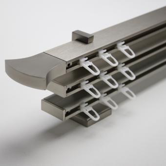 TetraBlock Series Edelstahlfarbig Endstück Geschwungen - Träger 3,5/6,3/9,1cm - Dreiläufig