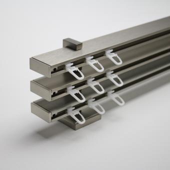 TetraBlock Series Edelstahlfarbig mit Kappe - Träger 3,5/6,3/9,1cm - Dreiläufig