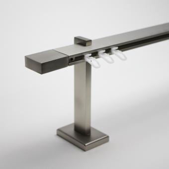 TetraBlock Series Edelstahlfarbig Endstück Block - Träger 13,5cm - Einläufig