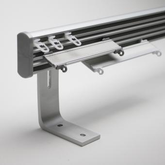 Aluminiumschiene Trigo 3 Läufig Farbe Alu Matt Wandmontage 135cm Winkel